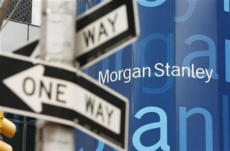 A street sign stands near the Morgan Stanley worldwide headquarters building in New York
