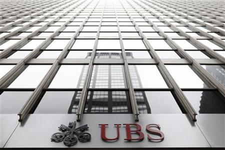 The logo of Swiss bank UBS can be seen outside its New York office