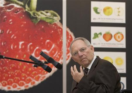 German Finance Minister Wolfgang Schaeuble speaks during the presentation of the Charity Stamp 2010 at Bellevue Castle in Berlin
