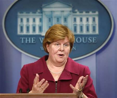 Christina Romer speaks about the Economic Report at the White House in Washington