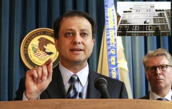Manhattan US Attorney Preet Bharara (L) speaks during a news conference, with Manhattan District Attorney Cyrus Vance Jr. , about the arrest of investor Kenneth Starr at the Manhattan US Attorney's office in New York, May 27, 2010 and (inset) a general vi