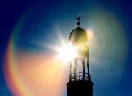 The central Mosque is seen during Friday prayers in Birmingham