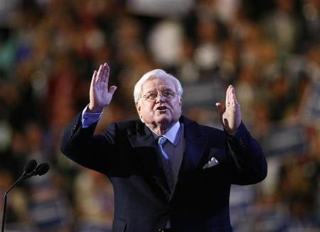 U.S. Senator Ted Kennedy gestures on stage at the 2008 Democratic National Convention in Denver