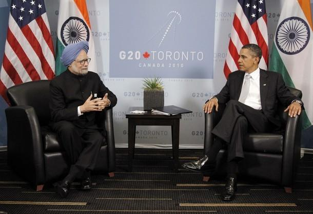 U.S. President Barack Obama, right, conducts a bilateral meeting with India's Prime Minister Manmohan Singh at the Group of 20 Summit in Toronto on June 27,