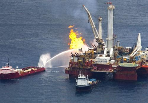 Natural gas is burned off support vessel above source of Deepwater Horizon oil spill in the Gulf of Mexico