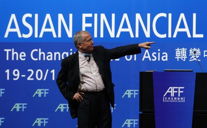 American investor and financial commentator Rogers addresses a luncheon at the Asian Financial Forum in Hong Kong