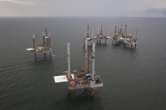 Idle oil rigs in Gulf of Mexico