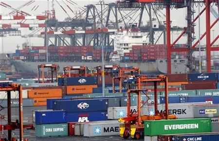 Shipping containers at the Port Newark Container Terminal