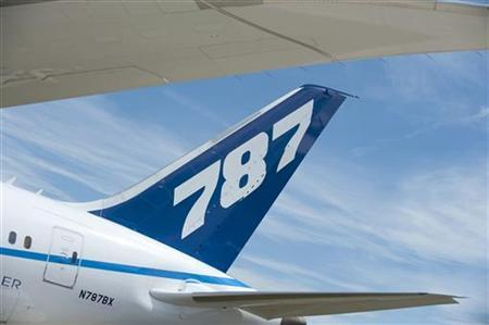The tail fin of the Boeing 787 Dreamliner is seen at the 2010 Farnborough International Airshow