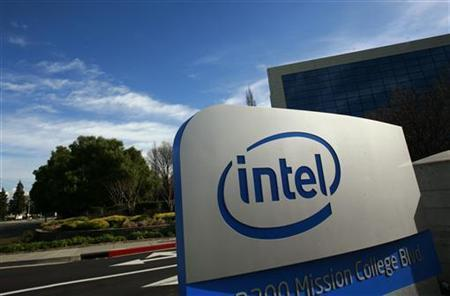 Sign shown at headquarters for Intel Corp in Santa Clara