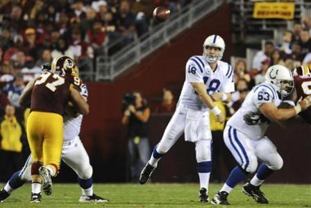 Indianapolis Colts quarterback Peyton Manning (18) passes against the Washington Redskins during the second half of their NFL football game in Landover, Maryland, October 17, 2010.