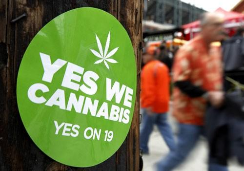 A sticker to support proposition 19, a measure to legalize marijuana in the state of California