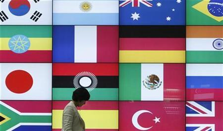 A woman walks by a signboard showing flags of the participating countries for the upcoming G20 Seoul Summit at venue of the summit in Seoul