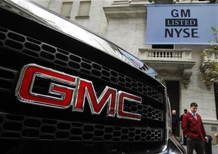 A GMC vehicle is seen parked outside of the New York Stock Exchange