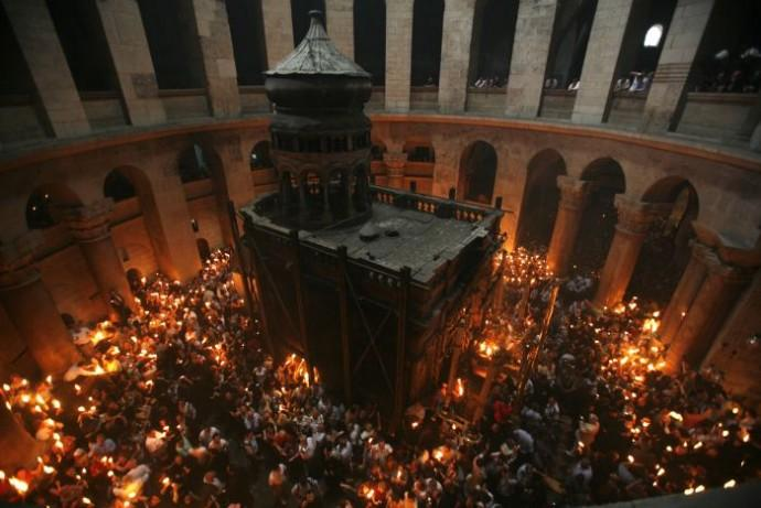 Church of Holy Sepulchre During a Holy Fire Ceremony in Jerusalem's Old Ci