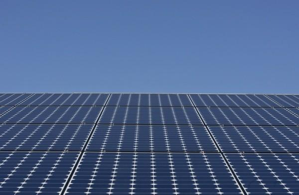 Solar panels sit on the roof of SunPower Corporation in Richmond, California