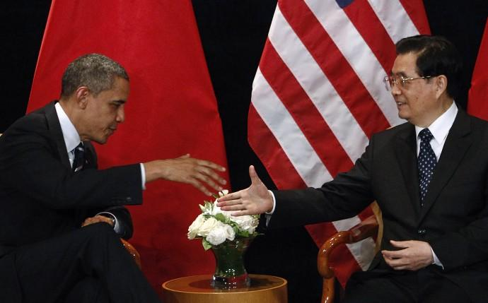 U.S. President Barack Obama meets with China's President Hu as part of the G20 Summit in Seoul