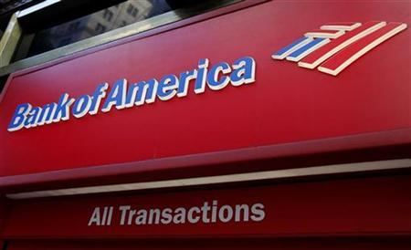 The sign on a Bank of America ATM machine is pictured in downtown Los Angeles