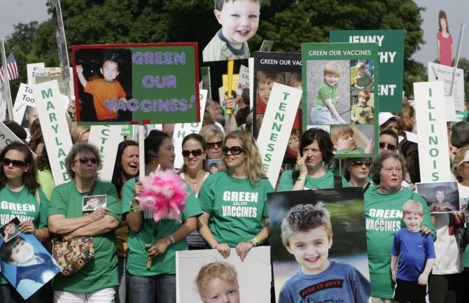 Families from across the U.S. living with autism take part in a rally calling to eliminate toxins from children's vaccines in Washington June 4, 2008.