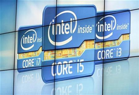 Video wall displays Intel's logos at the unveiling of its second generation Intel Core processor family during news conference at CES in Las Vegas