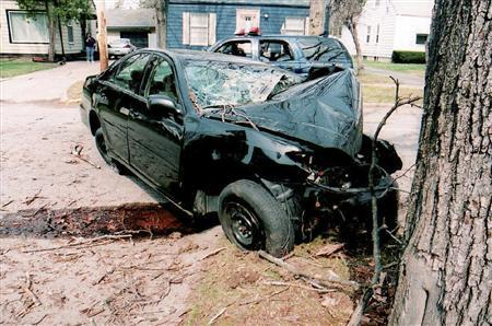 File accident picture provided by the lawyers representing the family of Guadalupe Alberto, of the wreckage of a 2005 Toyota Camry following crash in Flint