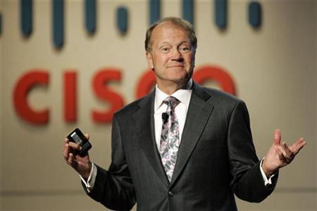 Chambers, CEO of Cisco Systems, speaks during a news conference at at the CES in Las Vegas
