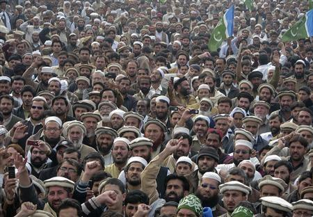 Supporters of the religious and political party Jamaat-e-Islami take part in a protest rally against U.S. citizen