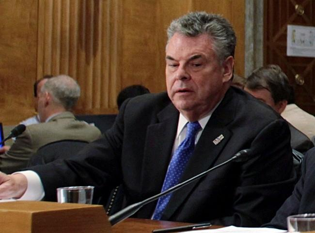 U.S. Rep. Peter King testifies before the Senate Homeland Security and Governmental Affairs Committee on Capitol Hill in Washington May 5, 2010.