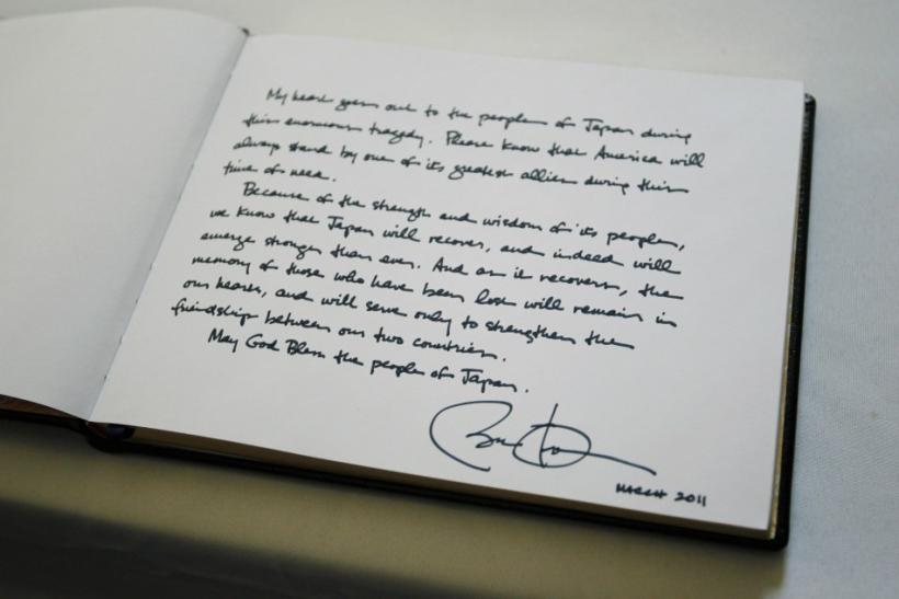 Words written by U.S. President Barack Obama in a condolence book