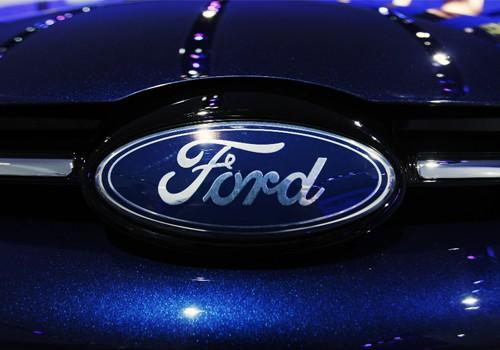 The Ford logo on a car.