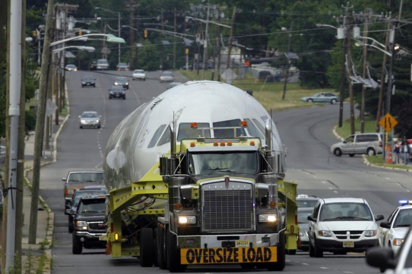 US Airways flight 1549 also known as the Miracle on the Hudson rolls rolls along Route 130 in Brooklawn, New Jersey