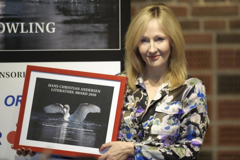 British author JK Rowling holds her HC Andersen Literature Prize 2010 at Odense Concert Hall