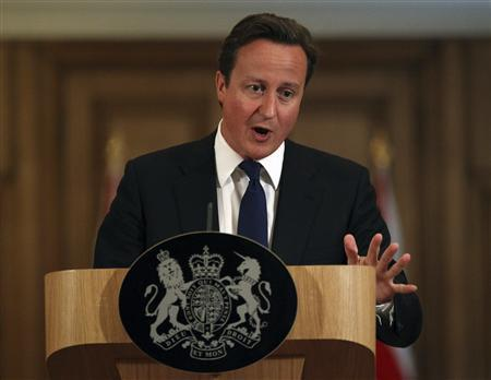 Britain's Prime Minister David Cameron speaks during a news conference at number 10 Downing Street in London