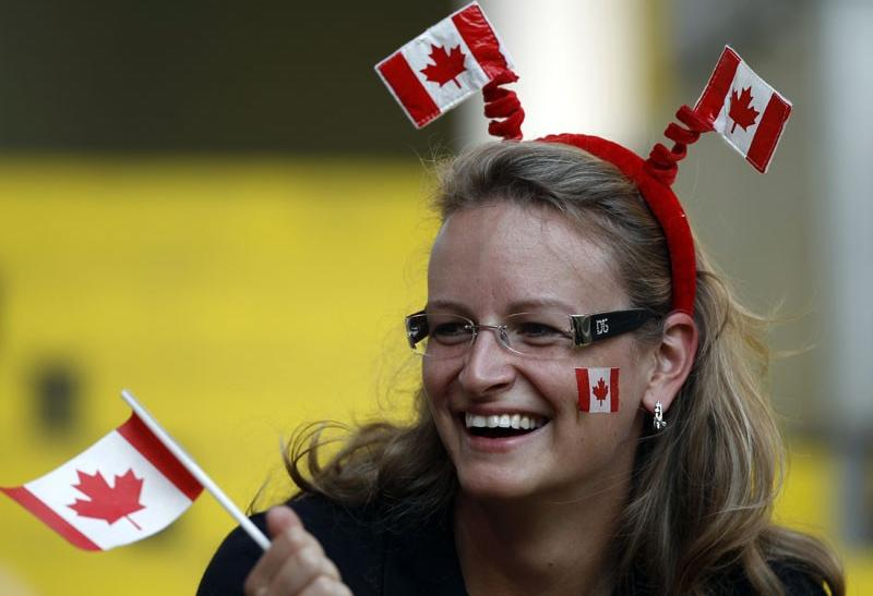 A supporter of Canada's soccer team