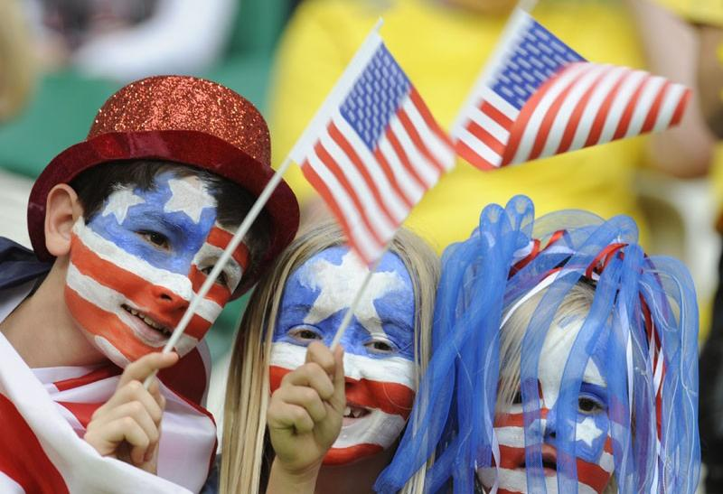 The US fans cheering their team