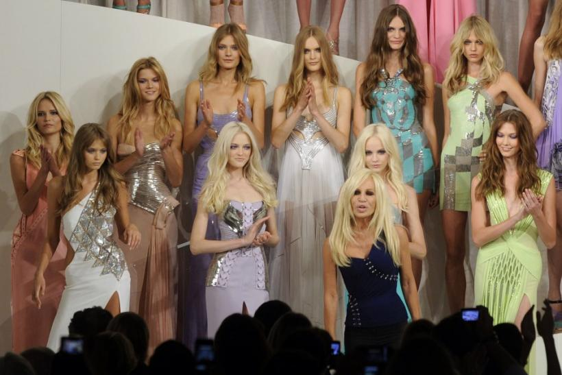 Italian designer Donatella Versace at the end of Versace Spring/Summer 2010 women's collection in Milan