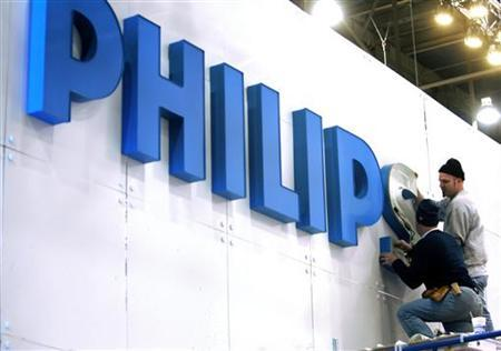 Teamsters put up a sign at the Philips Electonics booth before the Consumer Electronics Show at the Las Vegas Convention Center