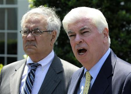 Dodd and Frank speak to the press at the White House in Washington