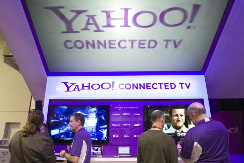 The Yahoo! Connected TV booth is shown during the 2011 International Consumer Electronics Show (CES) in Las Vegas