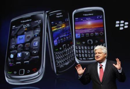 Mike Lazaridis, president and co-CEO of Research in Motion, speaks at the RIM Blackberry developers conference in San Francisco