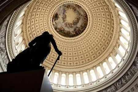 A statue stands in Capitol Rotunda on Capitol Hill in Washington