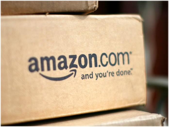 A box from Amazon.com is pictured on the porch of a house in Golden, Colorado July 23, 2008