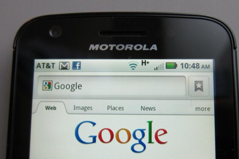 A Motorola Droid phone is seen displaying the Google search page in New York