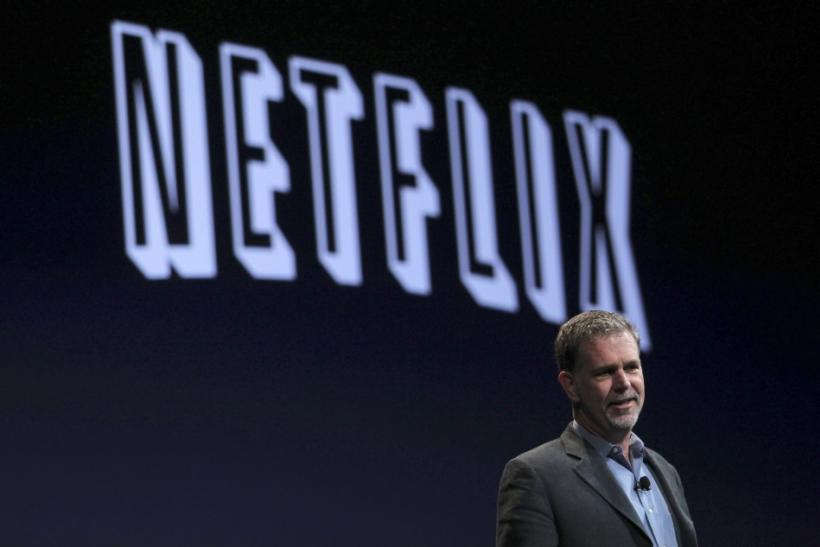 Netflix CEO Reed Hastings speaks during the unveiling of the iPhone 4 by Apple CEO Steve Jobs by in San Francisco, California