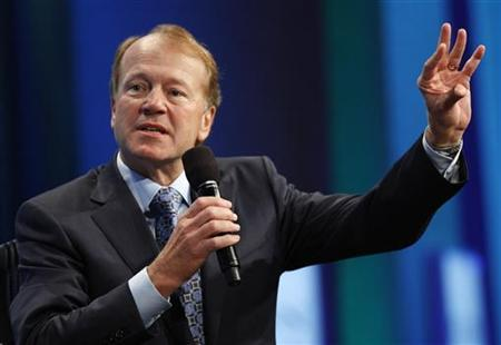 """John Chambers, Chairman and Chief Executive Officer of Cisco, participates in a panel discussion titled """"Enhancing Access to Modern Technology,"""" at the Clinton Global Initiative, in New York"""