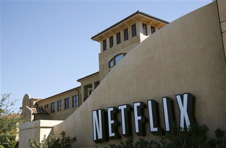 A sign is shown at the headquarters of Netflix in Los Gatos