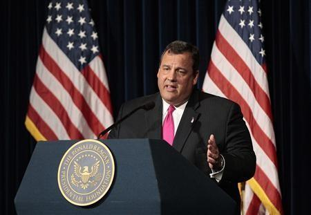Republican New Jersey Governor Chris Christie speaks at the Ronald Reagan Presidential Library and Museum in Simi Valley, California