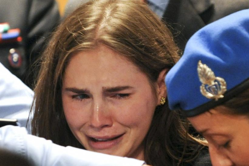 U.S. student Amanda Knox reacts after hearing the verdict during her appeal trial session in Perugia
