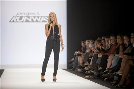 Judge and hostess Heidi Klum appears at the Project Runway 2012 fashion show during New York Fashion Week