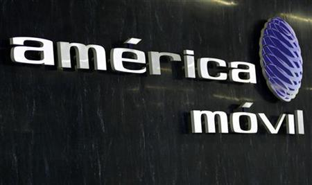 The logo of America Movil is seen in the company's new corporate offices in Mexico City